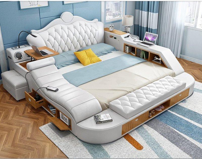 Giường tatami có ghế massage nhập khẩu sang trọng GN010 màu xám