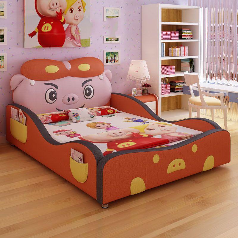 Giường trẻ em hoạt hình chú heo ngộ nghĩnh dễ thương GTE029 màu đỏ