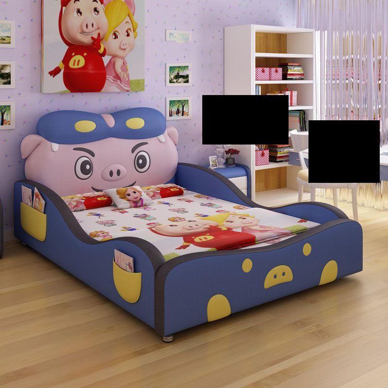 Giường trẻ em hoạt hình chú heo ngộ nghĩnh dễ thương GTE029 màu xanh da trời