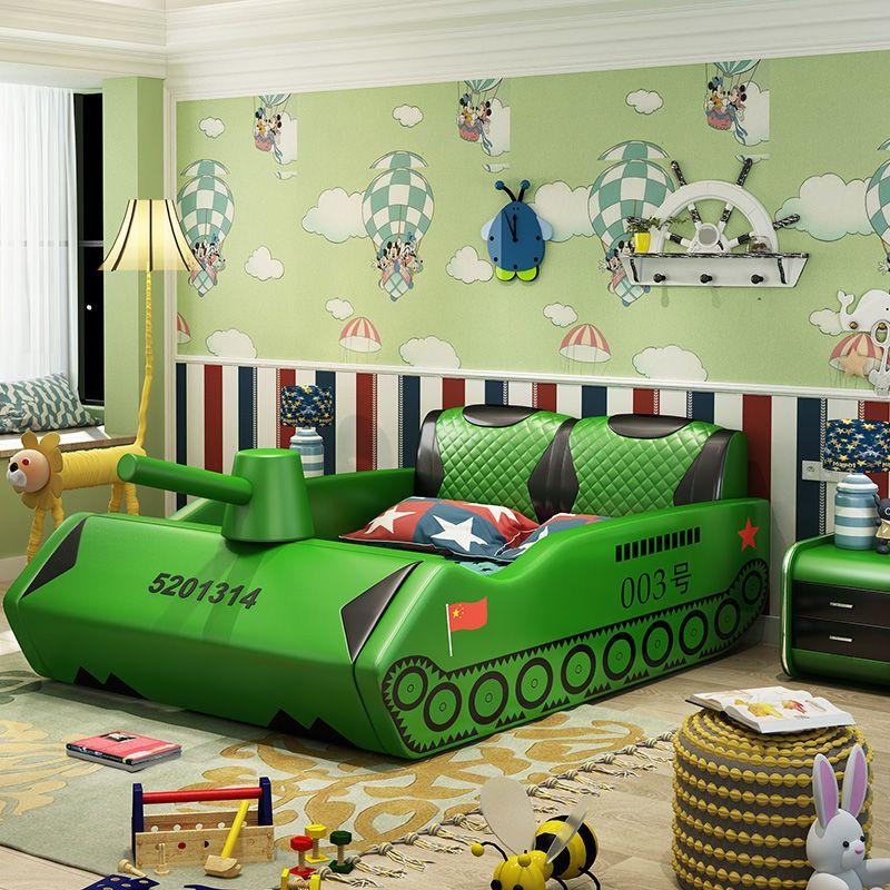Giường trẻ em bọc da kiểu xe tăng GTE038 màu xanh