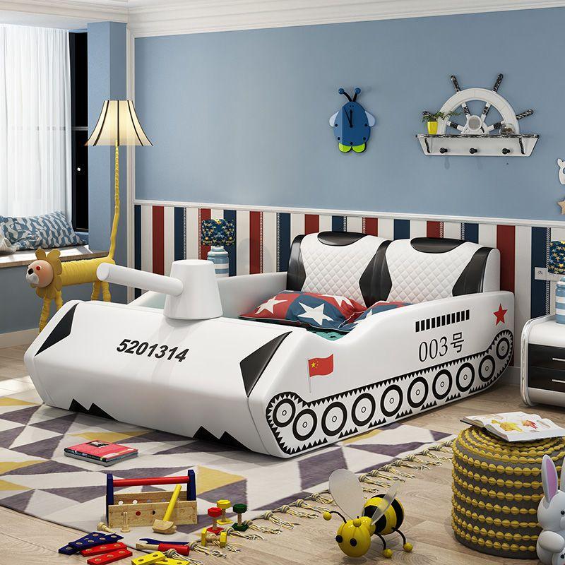 Giường trẻ em bọc da kiểu xe tăng GTE038 màu trắng