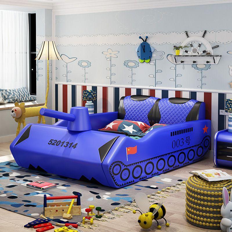 Giường trẻ em bọc da kiểu xe tăng GTE038 màu xanh da trời