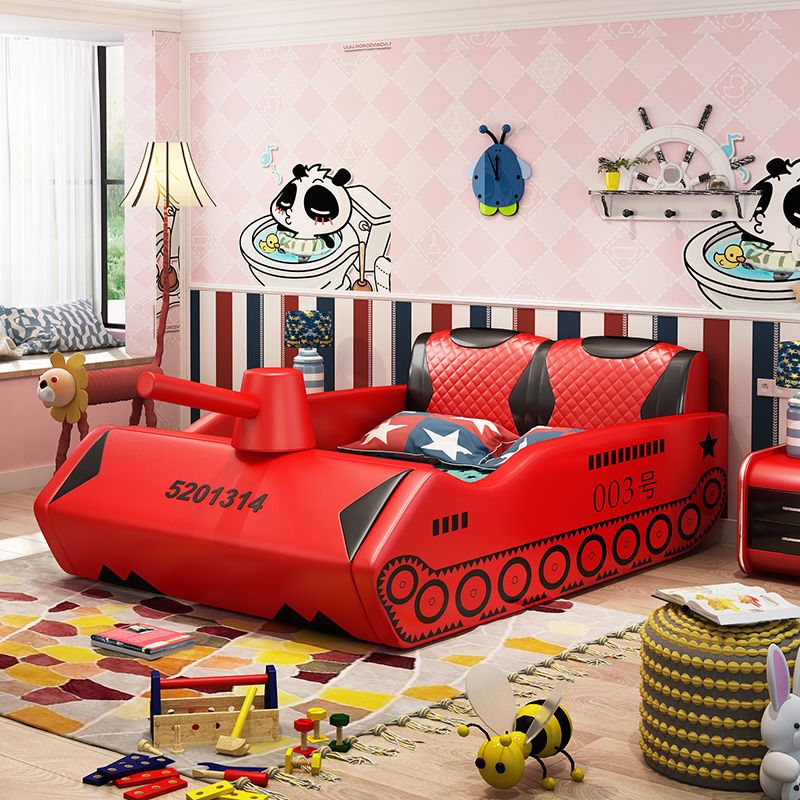 Giường trẻ em bọc da kiểu xe tăng GTE038 màu đỏ