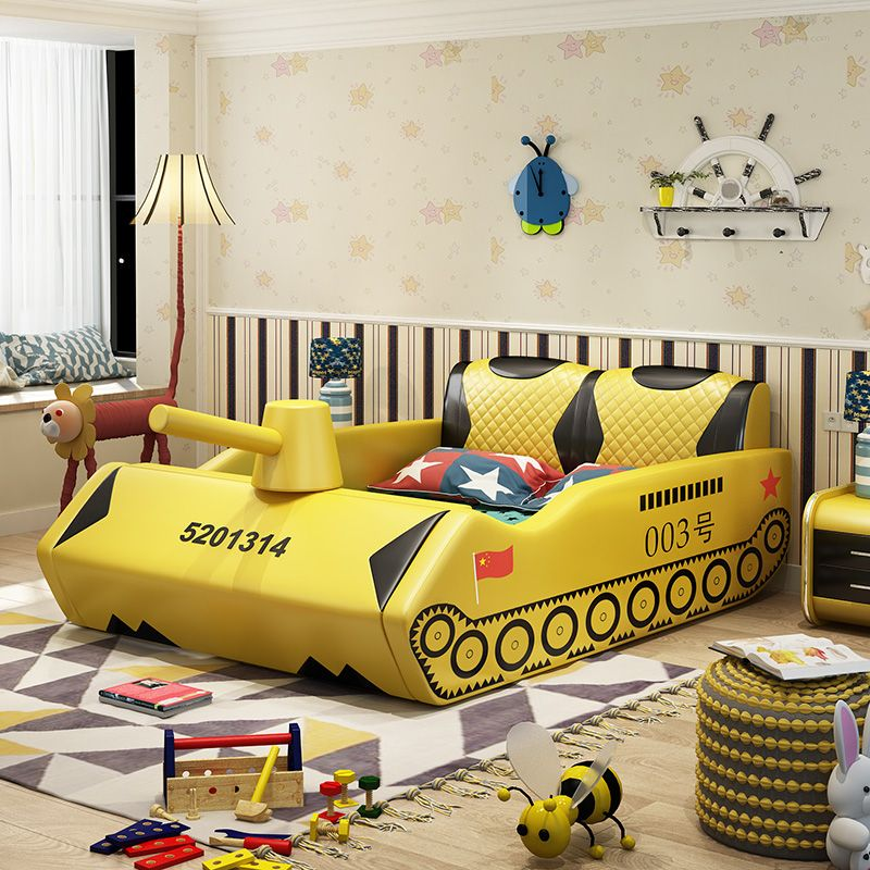 Giường trẻ em bọc da kiểu xe tăng GTE038 màu vàng