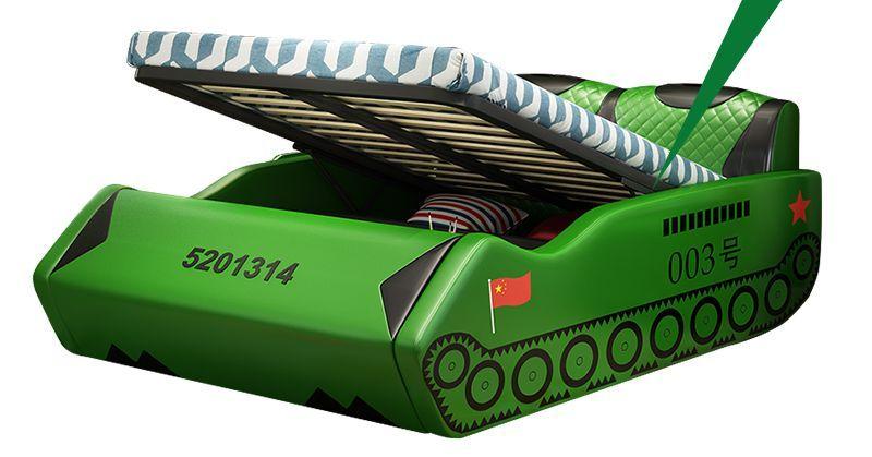 Giường trẻ em bọc da kiểu xe tăng GTE038 màu xanh có ngăn gấp chứa đồ