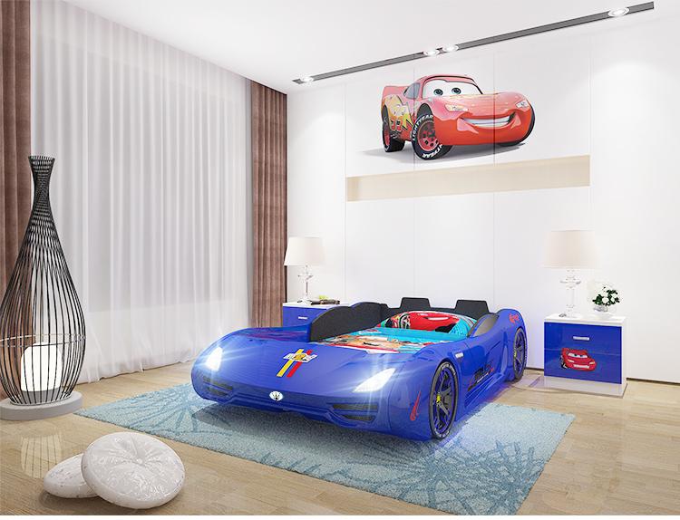Giường ô tô thể thao 3D T400 Maserati + đèn led + âm nhạc GTE065 màu xanh da trời