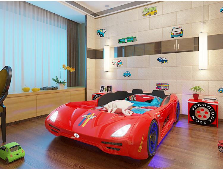Giường ô tô thể thao 3D T400 Maserati + đèn led + âm nhạc GTE065 màu đỏ