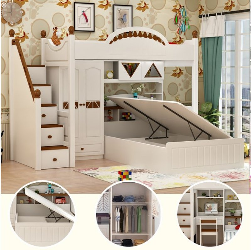 Giường tầng thông minh kết hợp tủ quần áo + bàn học GTE070 5