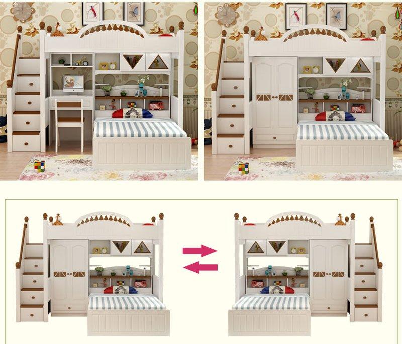 Giường tầng thông minh kết hợp tủ quần áo + bàn học GTE070 6
