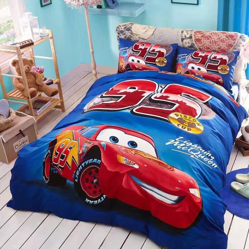 Set vỏ chăn ga gối hoạt hình Disney CGTE040 hình ô tô