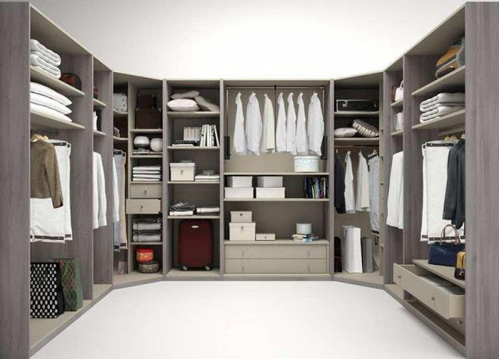 Mẫu tủ quần áo thiết kế hình chữ U