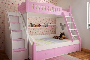 Giường tầng trẻ em màu hồng phấn