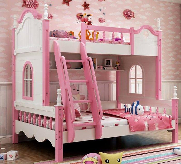 Giường 2 tầng màu hồng biển cả