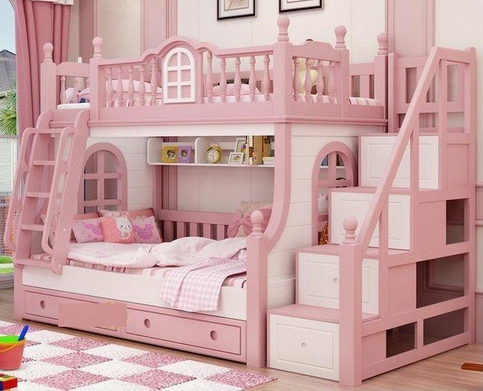 Giường tầng đa chức năng lâu đài hồng