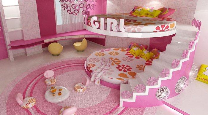 Giường tầng lâu đài cao cấp màu hồng đậm