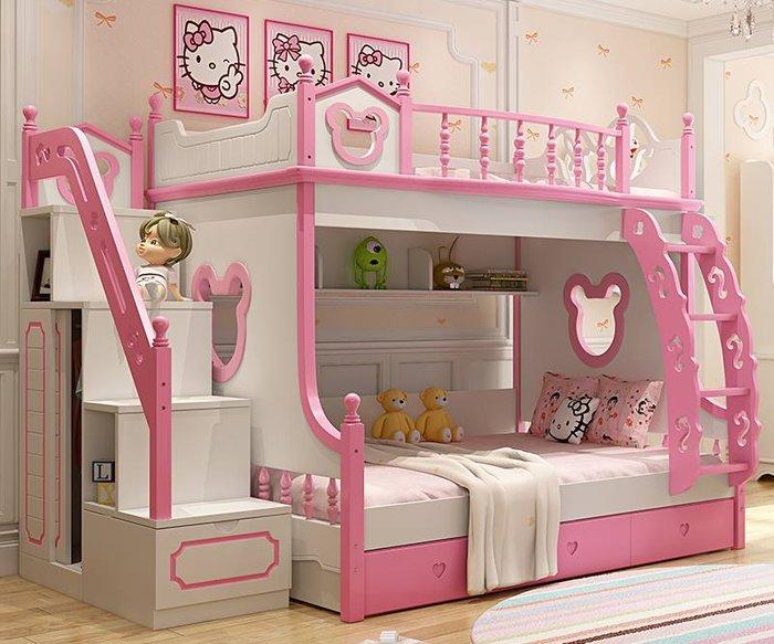 Giường tầng mèo Hello Kitty màu hồng