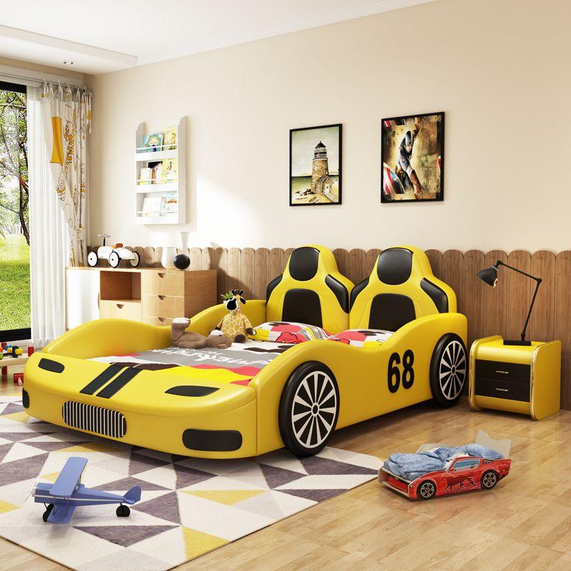 Giường hoạt hình kiểu dáng xe đua GTE093 màu vàng