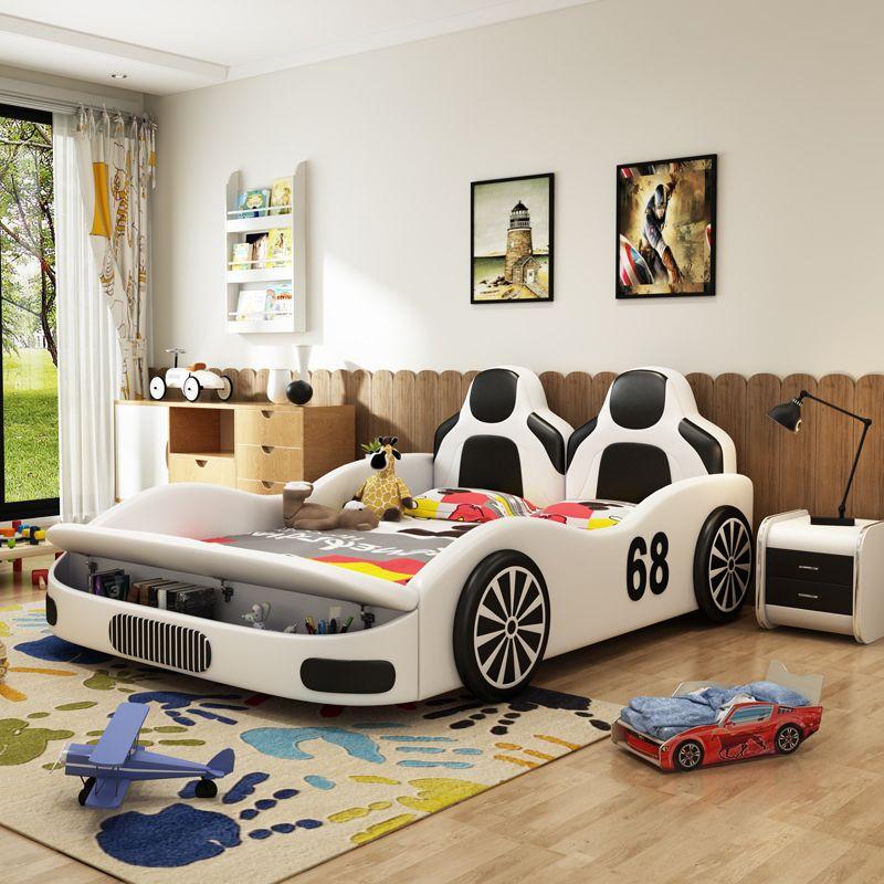 Giường hoạt hình kiểu dáng xe đua GTE093 màu trắng