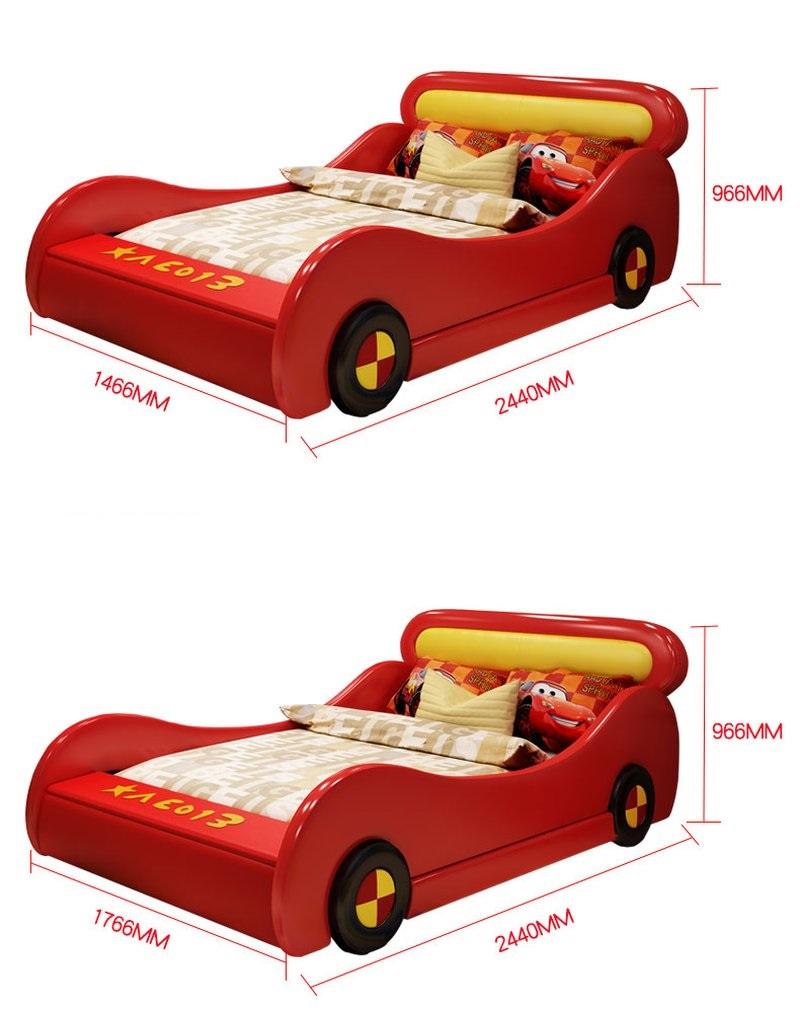 Kích cỡ Giường ô tô hoạt hình tia chớp MCqueen GTE081 màu đỏ