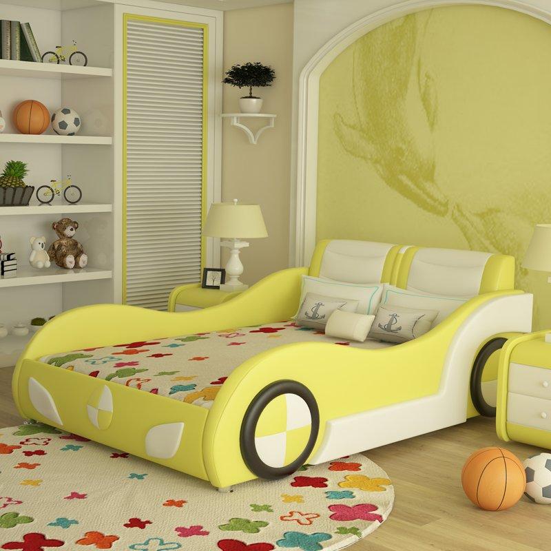 Giường ô tô trẻ em bọc da kiểu hoạt hình GTE089 màu vàng
