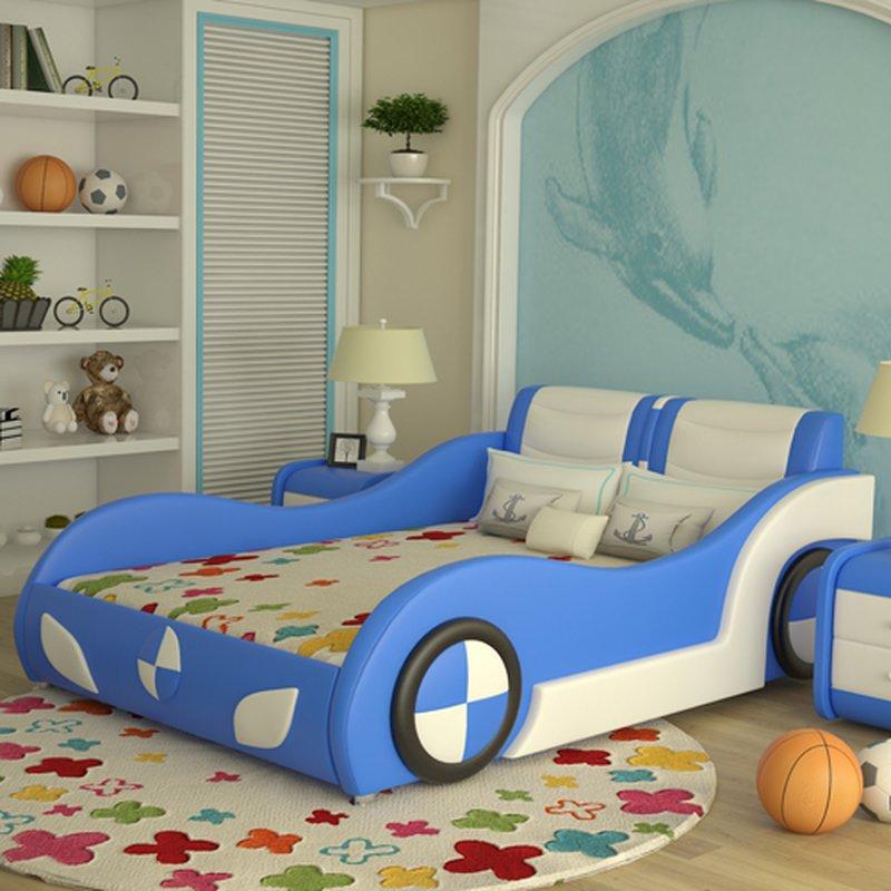 Giường ô tô trẻ em bọc da kiểu hoạt hình GTE089 màu xanh da trời