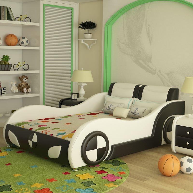 Giường ô tô trẻ em bọc da kiểu hoạt hình GTE089 màu trắng