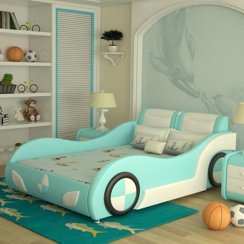 Giường ô tô trẻ em bọc da kiểu hoạt hình GTE089 màu xanh dương