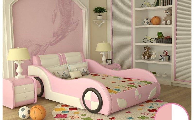 Bộ nội thất giường ô tô trẻ em bọc da kiểu hoạt hình GTE089 màu hồng