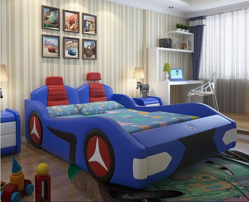 Giường ô tô trẻ em bọc da đẹp GTE088 màu xanh da trời