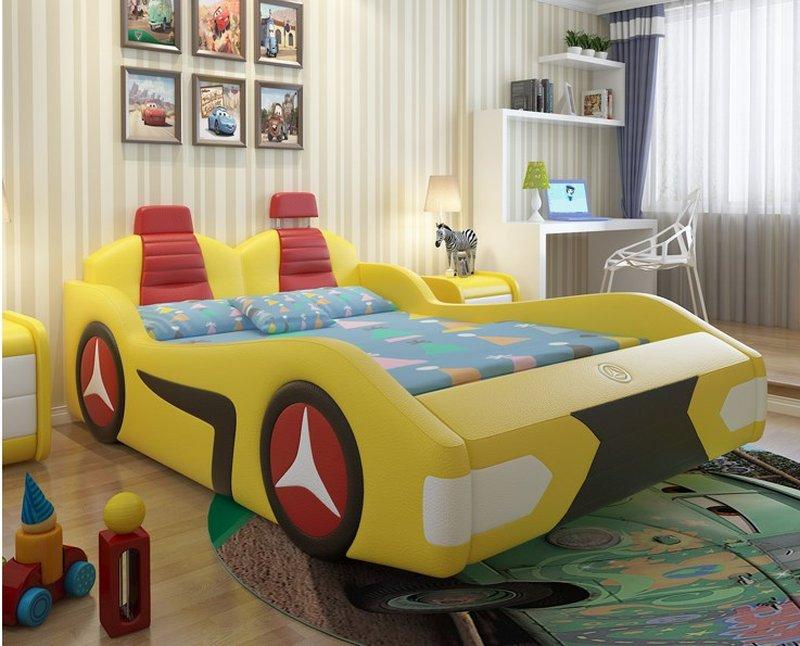Giường ô tô trẻ em bọc da đẹp GTE088 màu vàng