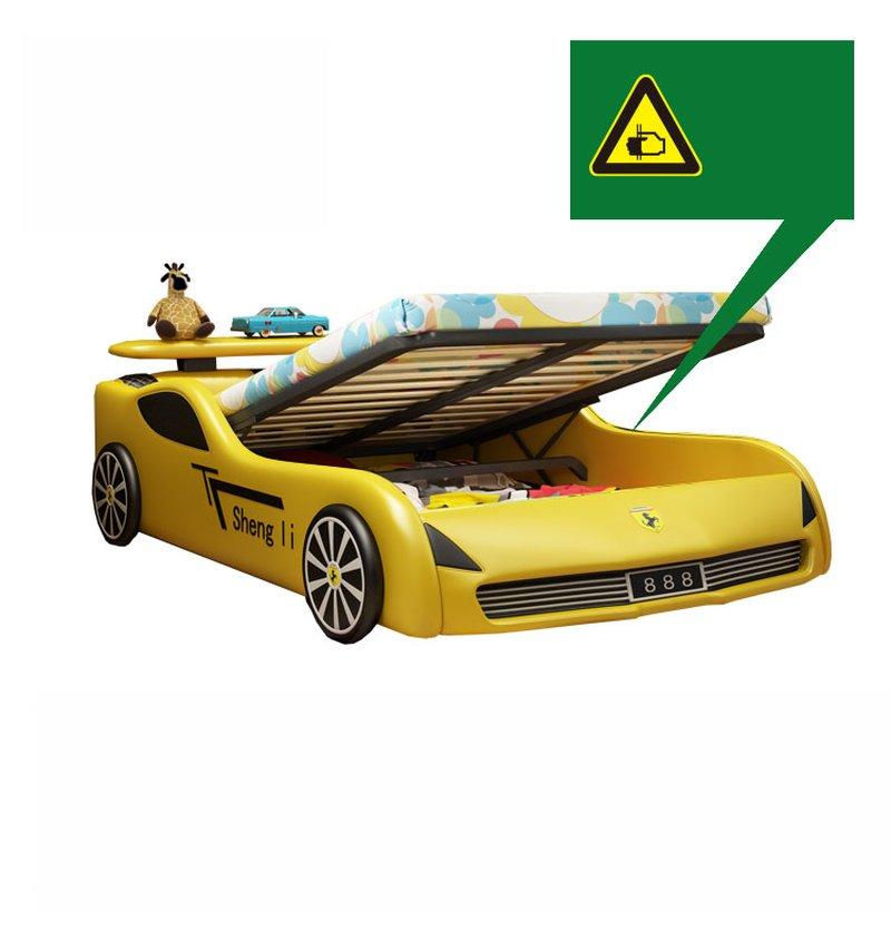 Giường ô tô xe đua cho bé trai GTE091 màu vàng có ngăn gấp chứa đồ