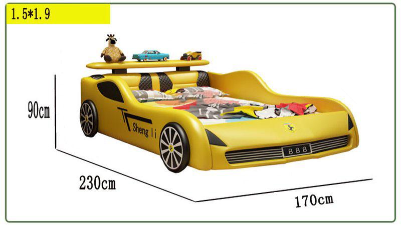 Kích thước 1m5 x 1m9 Giường ô tô xe đua cho bé trai GTE091