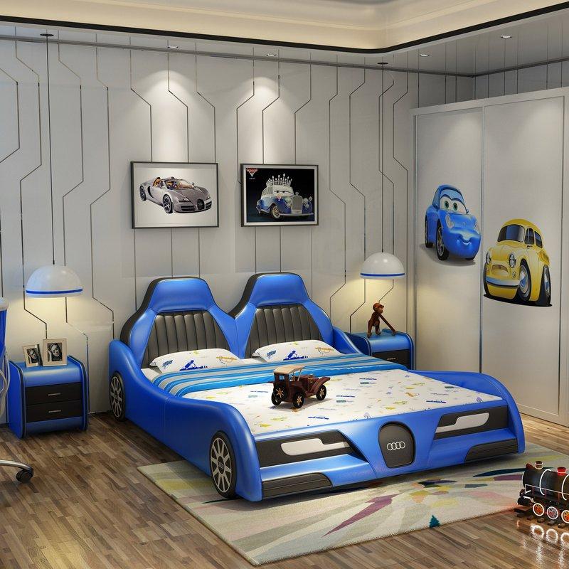Mẫu giường ngủ ô tô trẻ em bọc da cao cấp GTE090 màu xanh da trời