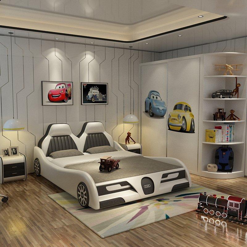 Mẫu giường ngủ ô tô trẻ em bọc da cao cấp GTE090 màu trắng
