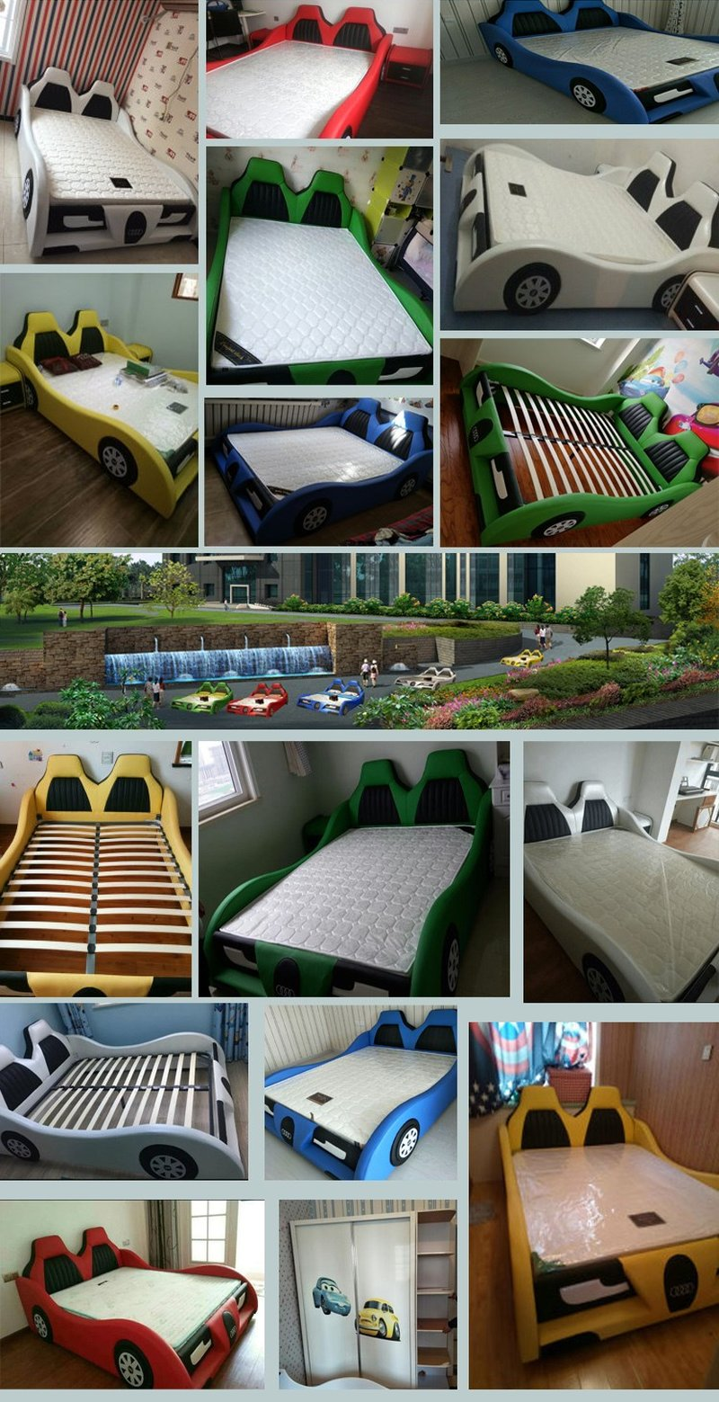 Hình ảnh thật Mẫu giường ngủ ô tô trẻ em bọc da cao cấp GTE090