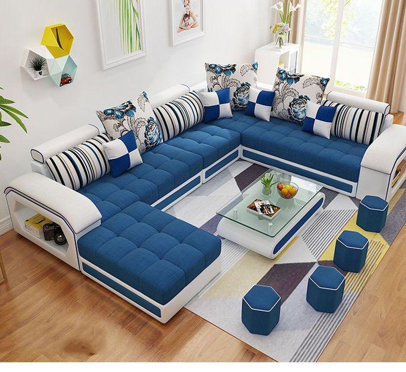 Bộ ghế sofa bọc nỉ hình chữ U SF004