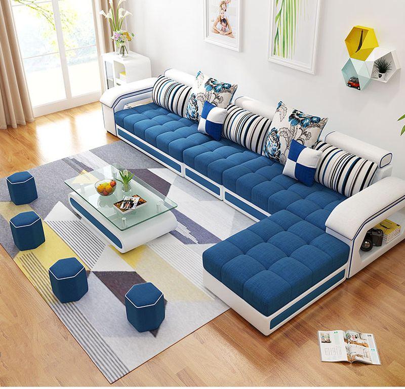 Bộ ghế sofa  phòng khách bọc nỉ hình chữ L SF004 4 băng