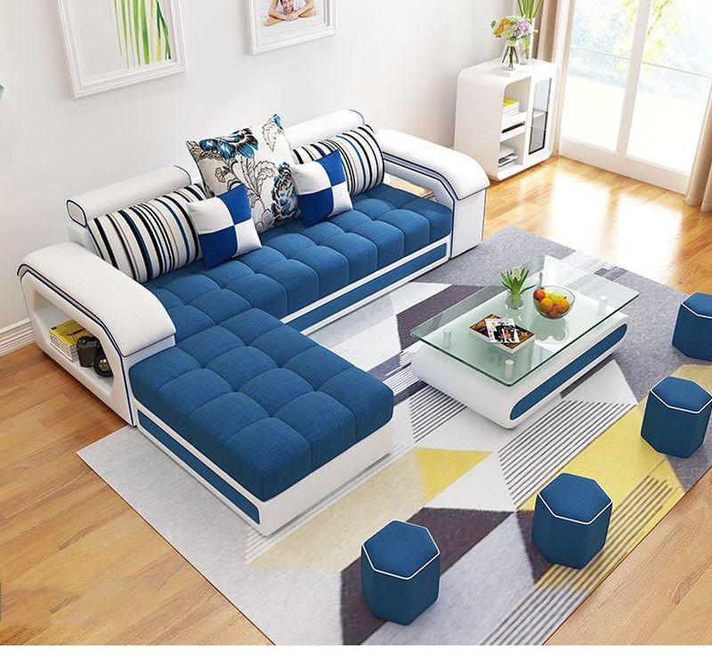 Bộ ghế sofa  phòng khách bọc nỉ hình chữ L SF004 2 băng