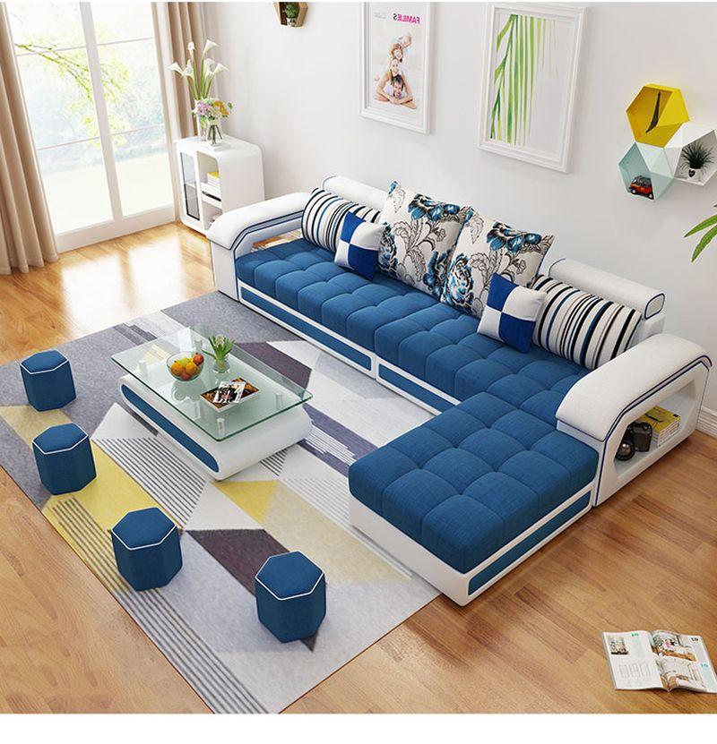Bộ ghế sofa  phòng khách bọc nỉ hình chữ L SF004 3 băng