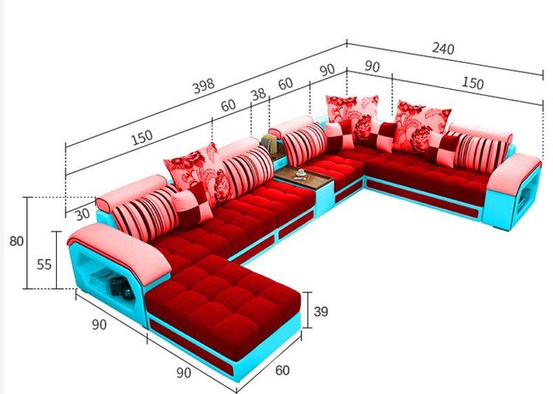 Kích cỡ Bộ ghế sofa phòng khách bọc nỉ hình chữ L SF004