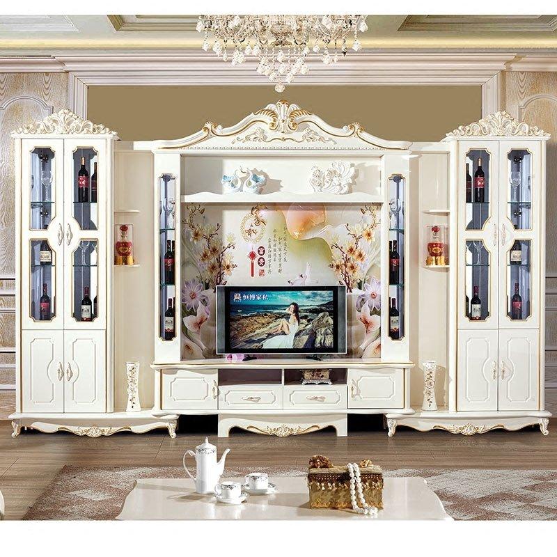 Bộ kệ tivi + tủ rượu phòng khách tân cổ điển châu âu TR003 màu vàng ngà