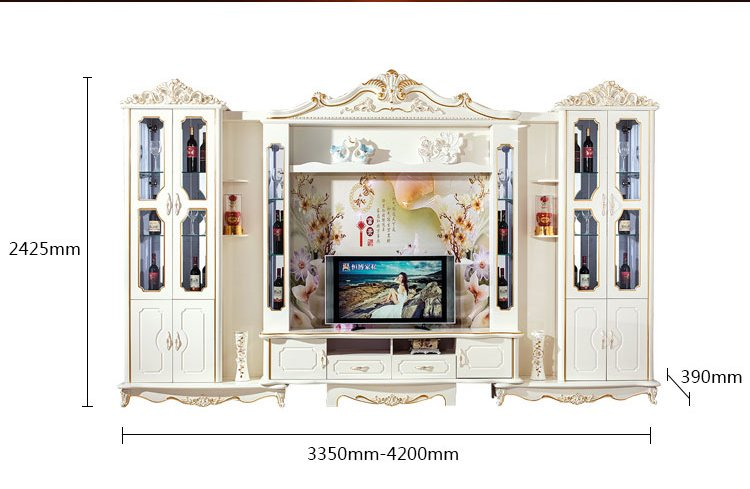 Kích cỡ Bộ kệ tivi + tủ rượu phòng khách tân cổ điển châu âu TR003