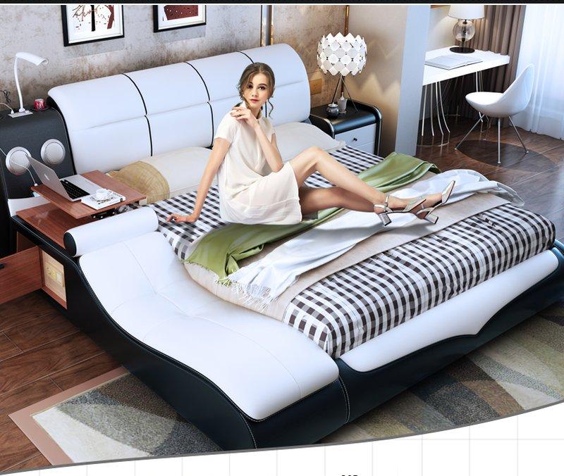 Giường hiện đại bọc da có ghế thư giãn GN013