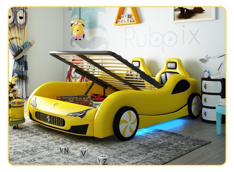Giường ô tô xe đua thể thao màu vàng sang trọng cho bé GTE114 có ngăn gấp chứa đồ