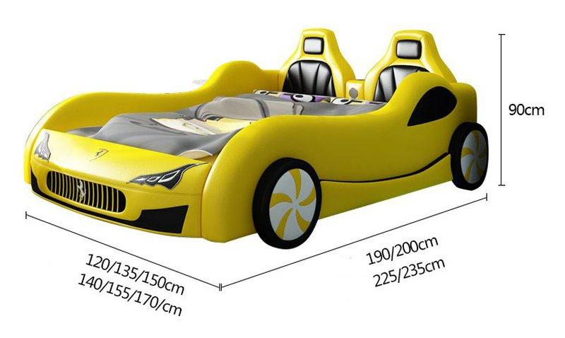 Kích thước Giường ô tô xe đua thể thao màu vàng sang trọng cho bé GTE114