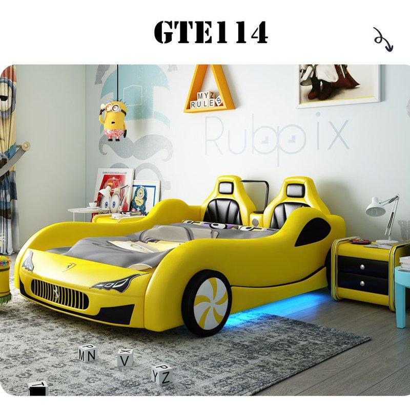 Giường ô tô xe đua thể thao màu vàng sang trọng cho bé GTE114