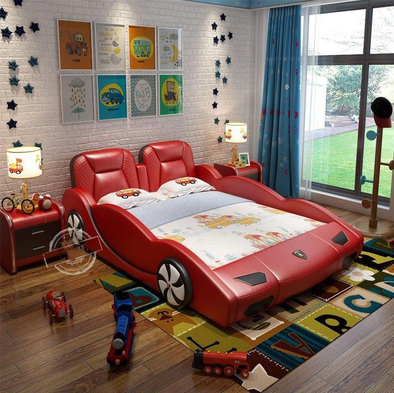 Giường siêu xe thể thao Lambogini bọc da GTE094 màu đỏ đô
