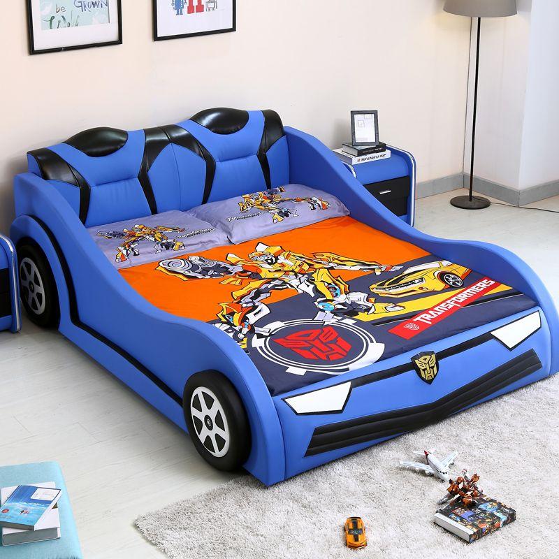 Giường trẻ em kiểu dáng ô tô hoạt hình BATMAN GTE095 màu xanh