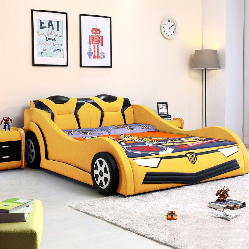 Giường trẻ em kiểu dáng ô tô hoạt hình BATMAN GTE095 màu vàng