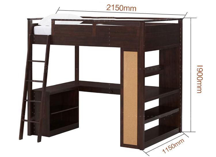 Kích thước Giường 2 tầng có bàn học + giá sách cho trẻ em, người lớn GTE099 2